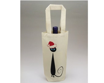 Wine Gift Bag, Christmas Gift Bag, Canvas Wine Bag,  Reusable Wine Bag, Bottle Bag, Siamese Cat Bag, Wine Bag, Mid Century