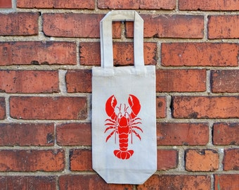 Wine Bag, Red Lobster,  Cotton Canvas Reusable Bag, Eco Friendly Bag