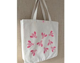Honey Bee, Tote Bag, Canvas Tote Bag, Shopping Bag, Eco Friendly Bag, Market Bag, Beach, Bag Raspberry