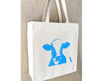Tote Bag, Cow Print, Farmers Market Bag, Canvas Tote Bag, Shopping Bag, Eco Friendly Bag, Market Bag, Spring Tote,