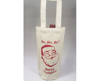 Vintage Santa, Canvas Wine Bag, Wine Gift Bag, Christmas Gift Bag, Reusable Wine Bag, Bottle Bag, Small Canvas Bag, Mid Century, Retro Santa