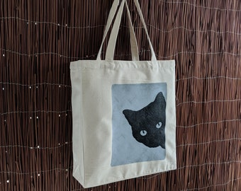 on Reusable Bag Great Grocery Shopping Tote Duty a a Cat Bag Hand Bag or Heavy Silk Black as Canvas Screened TWHnnIBC