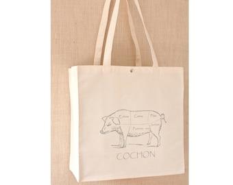 Canvas Tote Bag, Free Shipping, Grocery Bag, Pig Bag, Reusable Shopping Bag, Eco Friendly Bag, Reusable Grocery Bag