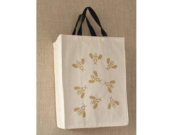 Honey Bee, Free Shipping, Napoleonic Bee, Canvas Bag, Reusable Grocery Bag, Eco Friendly, Reusable Bag, Farmers Market Bag