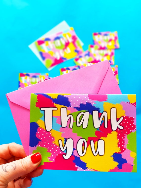 Thank you cards colourful thank you notes greeting cards etsy thank you cards colourful thank you notes greeting cards thanks cute and colourful fun thank you cards m4hsunfo