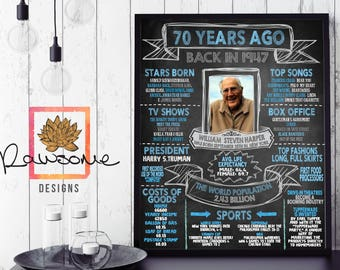 1947 - Birthday Milestone With Photo - 70th Birthday Chalkboard Sign - CUSTOM COLORS