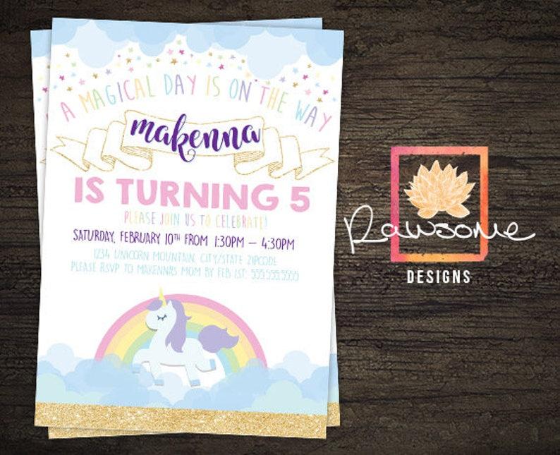 Any Age Totally Customized! Unicorn Party Birthday INVITATION