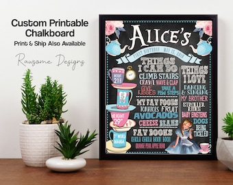 Alice in Wonderland Birthday Chalkboard - Milestone Sign {Any Age} - Totally Customizable