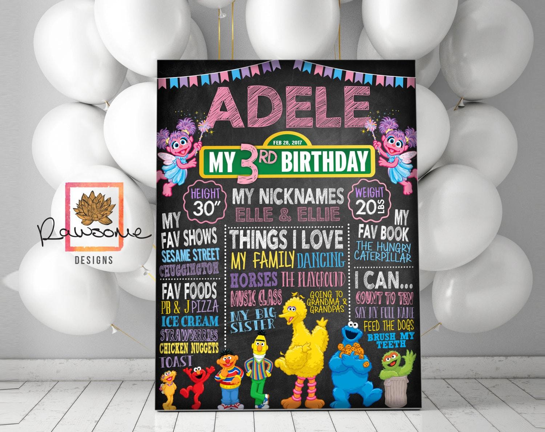 SESAME STREET Abby Cadabby Birthday Chalkboard Sign - Milestone Sign -  First Birthday Second Birthday