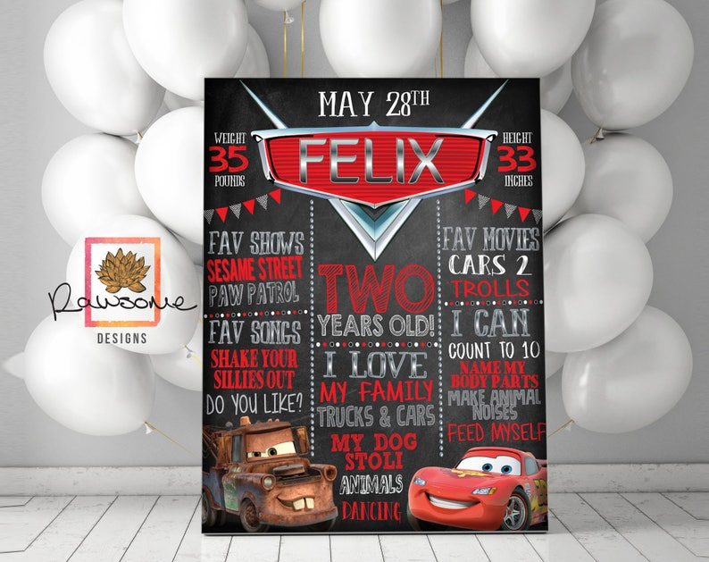 CARS Birthday Chalkboard Sign - Milestone Sign - First Birthday Second  Birthday