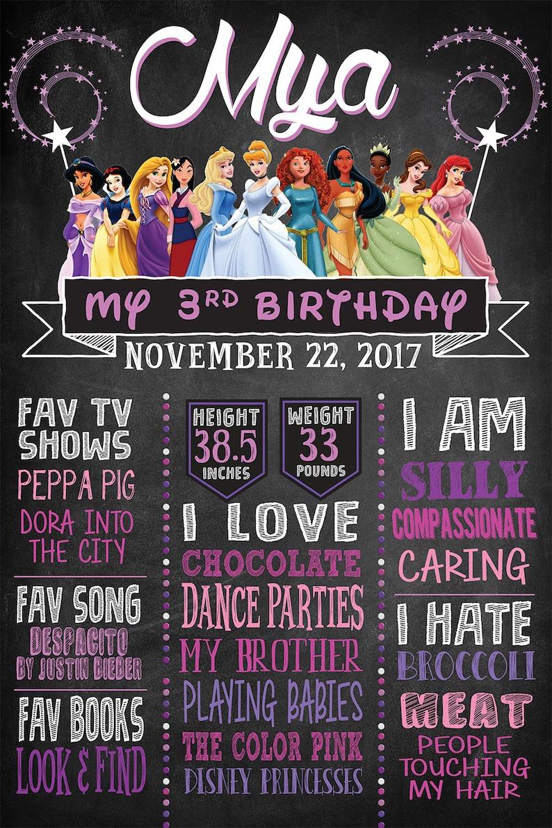 Disney Princess Themed Birthday Party CUSTOM DESIGNED! Great for any Age Milestones Chalkboard