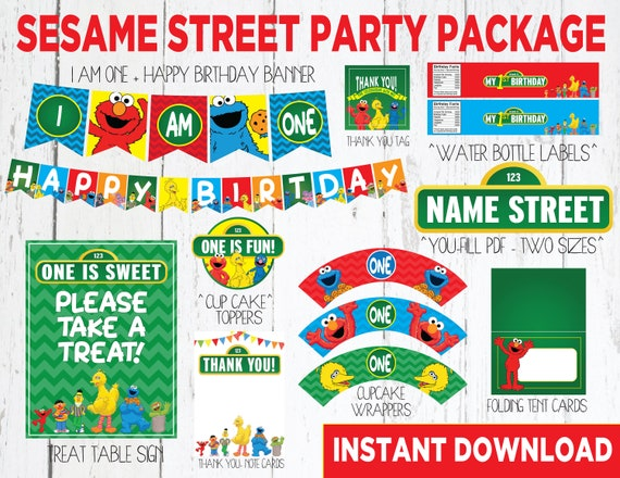SALE Sesame Street First Birthday Decor Package Instant