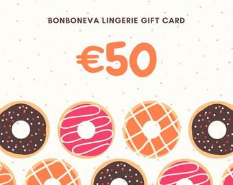Bonboneva Lingerie Gift Card Voucher 50 - Last Minute Gift for Her to Her Liking LIngerie Gift Card Printable Instant Download
