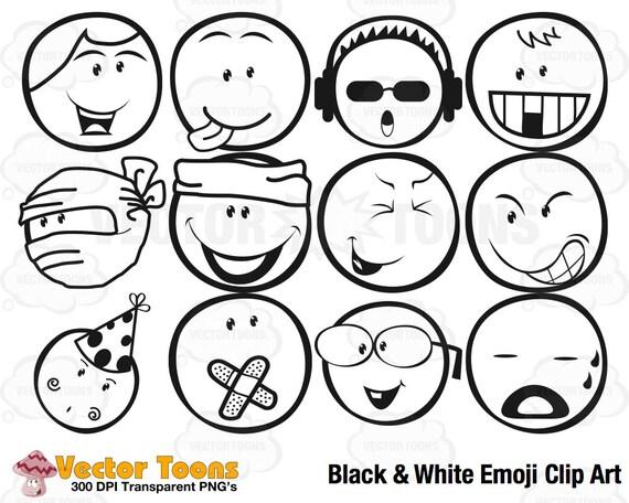 black white emoji clip art digital clipart digital etsy Emoji Mixed Girl Swag image