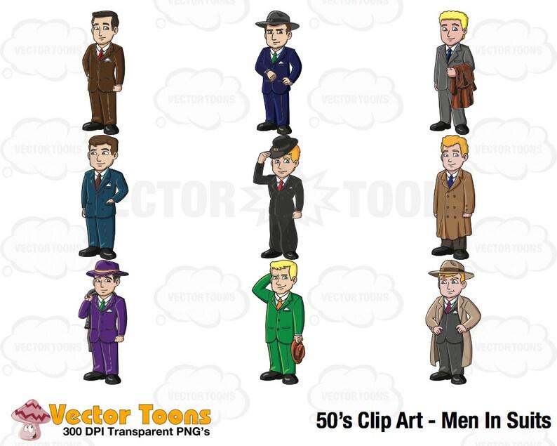 f14d598094 50s Clip Art Men In Suits Digital Clipart Digital Graphics | Etsy