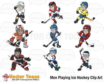 Men Playing Ice Hockey Clip Art, Digital Clipart, Digital Graphics