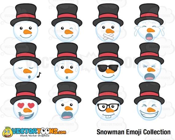 82b097eb20 Snowman Emoji Collection Clip Art Digital Clipart Digital | Etsy