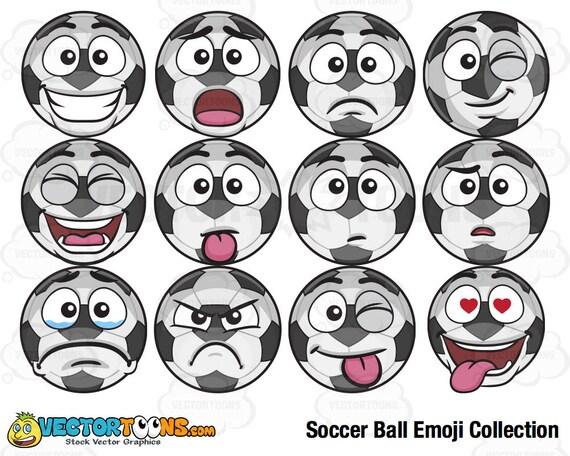 Fussball Ball Emoji Sammlung Clipart Digitale Clipart Digitale Grafiken