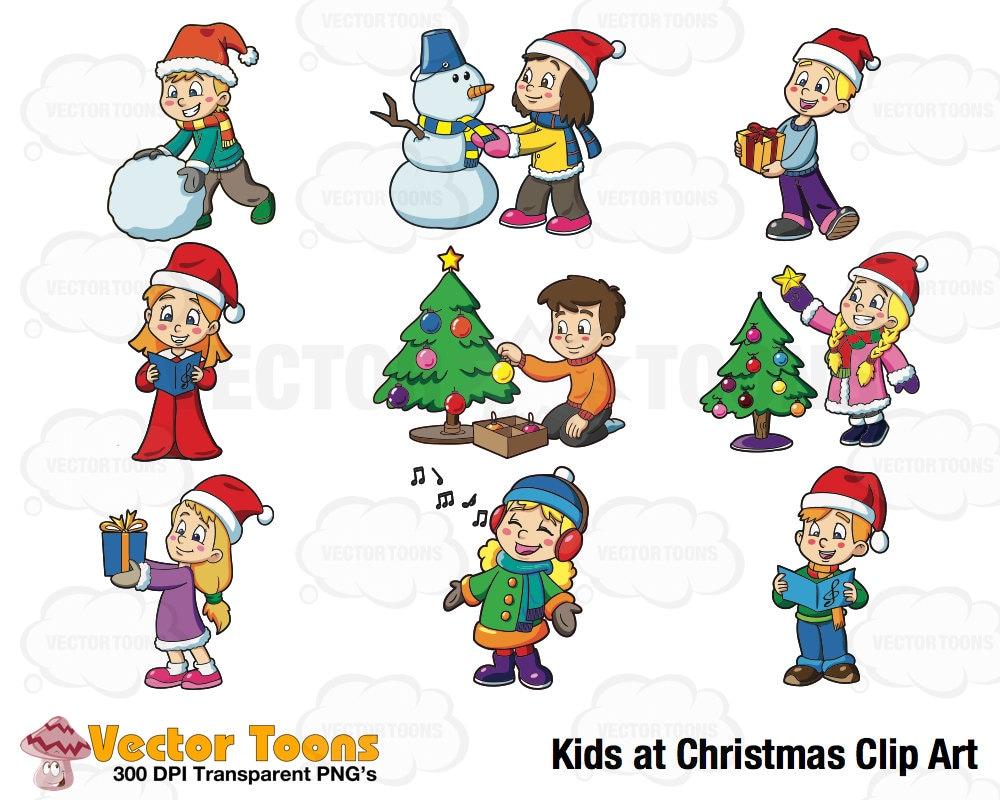 Kids at Christmas Clip Art Digital Clipart Digital Graphics | Etsy