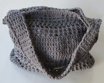 Crochet Take Along Tote, 16-Inch Gray Purse, Overcast Gray Crochet Purse, Gray Crochet Bag, Crochet Handbag, Cotton Yarn Purse