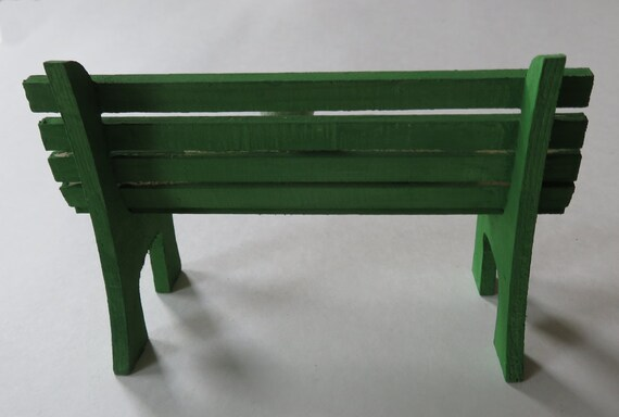 Sensational Green Mini Park Bench With Cat Painted Wooden Park Bench Miniature Wooden Decor Country Style Decor 3 5X5 Wooden Bench For Shelf Inzonedesignstudio Interior Chair Design Inzonedesignstudiocom