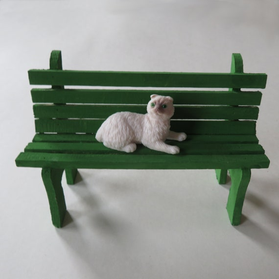 Sensational Green Mini Park Bench With Cat Painted Wooden Park Bench Miniature Wooden Decor Country Style Decor 3 5X5 Wooden Bench For Shelf Short Links Chair Design For Home Short Linksinfo