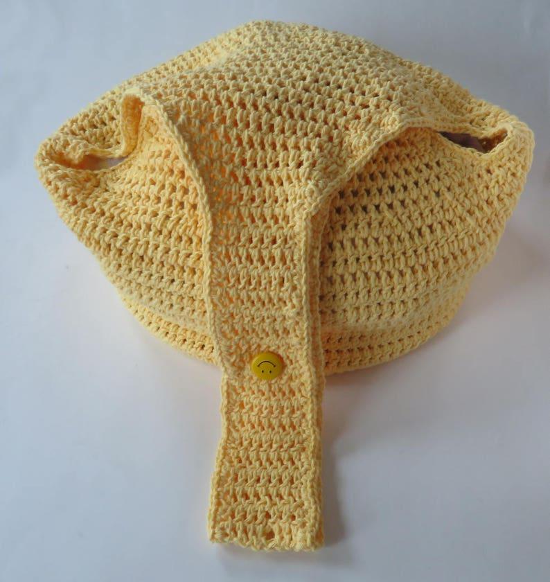 Large Market Bag Yellow Hobo Bag With Adjustable Strap Beach Bag Crochet Purse Hobo Style Bag Crochet Hobo Bag Large Bag