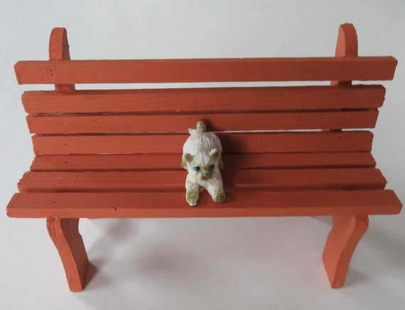 Light Brown Mini Park Bench With Cat, Decorative Garden Benches Mini
