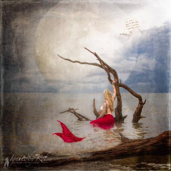 Sail Away, art print, mermaid, ships, peter pan