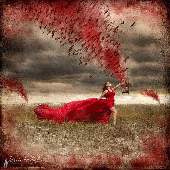 The Warning- photography, art print, dark art, birds, fantasy, red, parachute dress