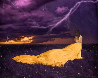 Static- photography, art print, purple, gold, firefly, fantasy