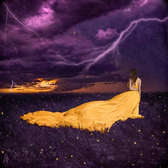 Static- photography, art print, purple, gold, firefly, fantasy