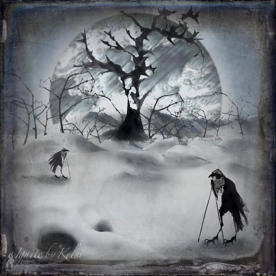 The Birdwalkers, Fine Art Photo, Surreal, Crow
