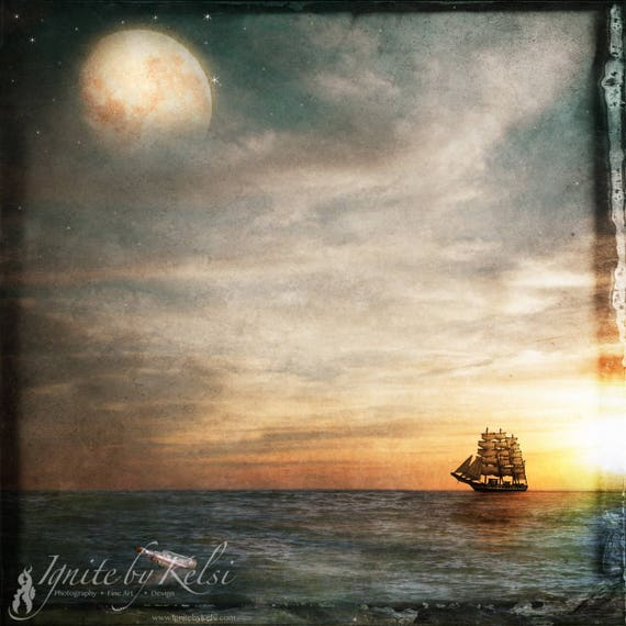 Letter to the Moon, print, art, ship, sailing