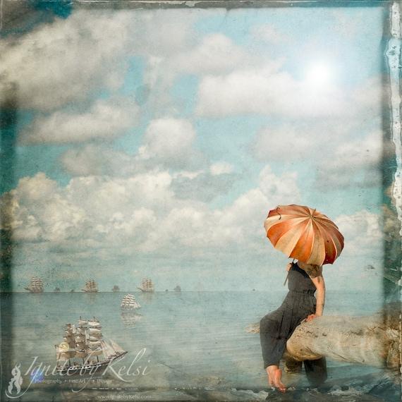 Her Fleet, art print, ships, sailing, woman