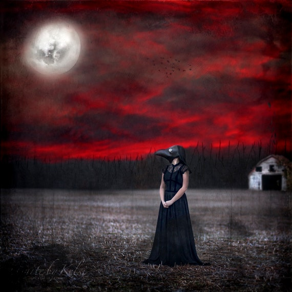 Into the Red Forest, Fine Art Photo, Dark, Crow, Plague Mask