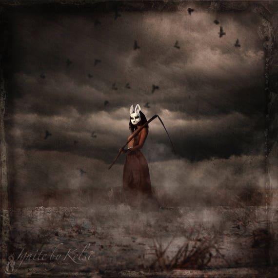 The Other Side- photography, art print, dark art, white rabbit, fantasy