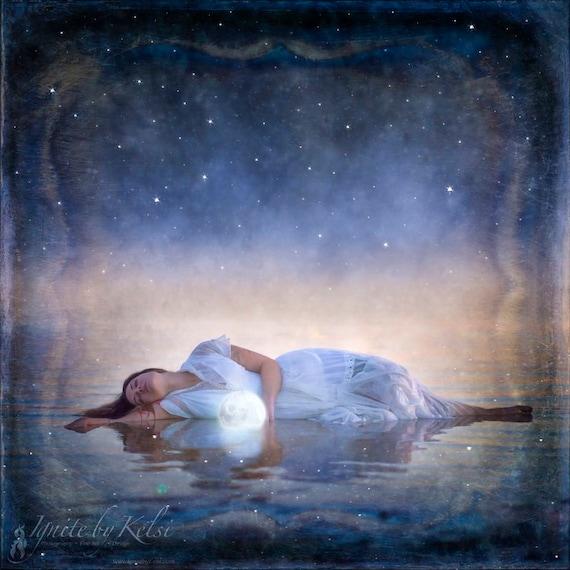 Selene and the Dream- photography, art print, moon, stars, fantasy