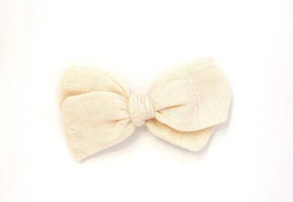 Baby Soft Mint Gauze Hand Tied Bow Nylon Headband Alligator Clip