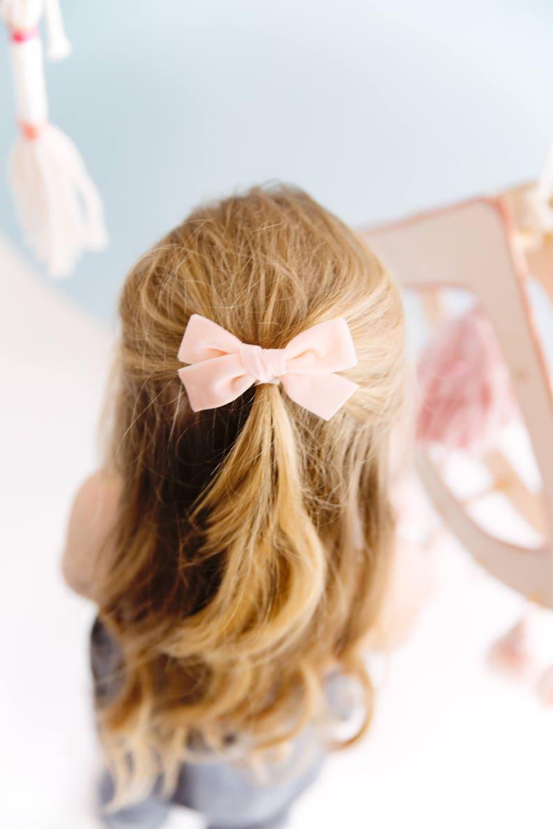 Girls Hairbow Headband Alligator Clip Lavender Swiss Velvet Knotted Bow Baby Girl Toddler