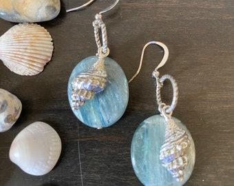 Sea Foam Kyanite Shell Earrings