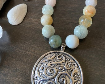Seaweed Pendant and Morganite Necklace