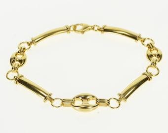 c7fd89140 14K Puffy Gucci Curved Bar Link Chain Fashion Bracelet 7