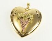 10K Two Tone Black Hills Bouquet Heart Locket Picture Pendant Yellow Gold