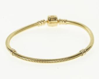 43a4e9016 14K Pandora Round Snake Chain Signature Charm Bracelet 7.25