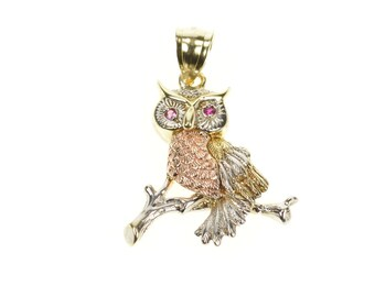 Perched Wisdom Owl Animal Charm Studs Stamping Stud Earrings in 14k Yellow Gold