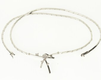 "18k 0.36 Ctw Diamond Adorned Bow Motif Bar Link Necklace Gold 16.25"""