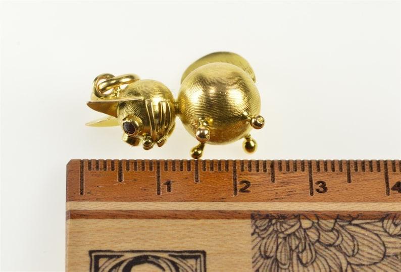 18K 3D Retro Stylized Kitty Cat Kitten Lover CharmPendant Yellow Gold