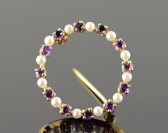 14k Seed Pearl Amethyst Circle Outline Pin/Brooch Gold