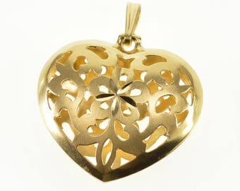 14k Ornate Puffy Flower Scroll Satin Finish Heart Pendant Gold